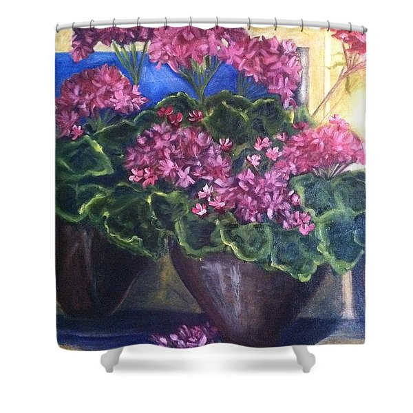 Geraniums Blooming Shower Curtain by Sherry Harradence