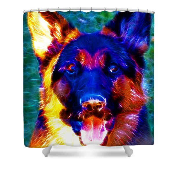 German Shepard - Electric Shower Curtain by Wingsdomain Art and Photography