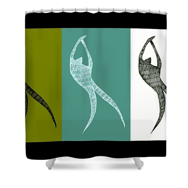 Get Moving Shower Curtain by Michelle Calkins
