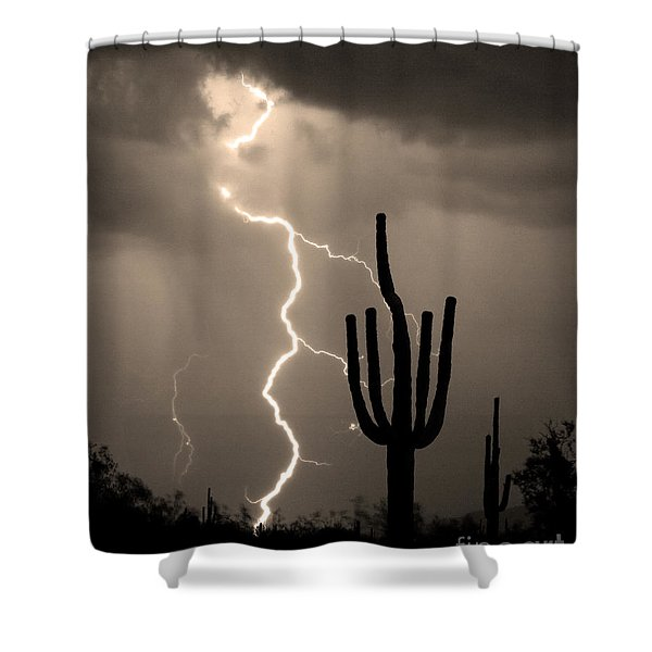 Giant Saguaro Cactus Lightning Strike Sepia  Shower Curtain by James BO  Insogna