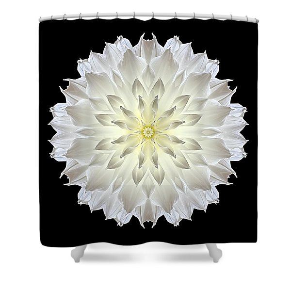 Giant White Dahlia Flower Mandala Shower Curtain by David J Bookbinder