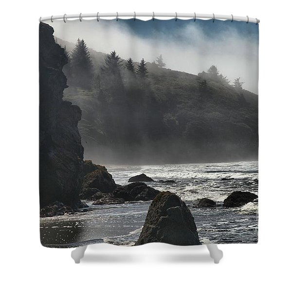 Giants In The Fog Shower Curtain by Adam Jewell