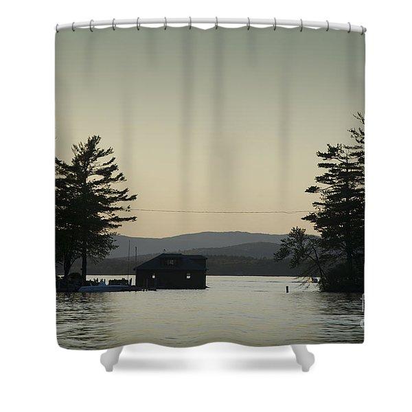 Gilford Harbor Boathouse Shower Curtain by David Gordon