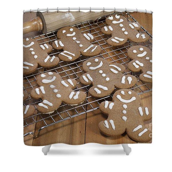 Gingerbread Man Cookies Shower Curtain by Juli Scalzi