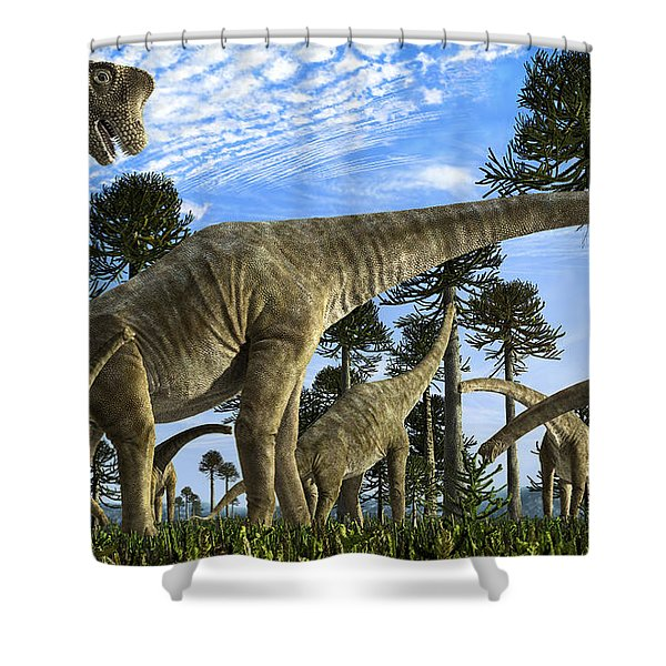 Giraffatitan Brancai Dinosaurs Grazing Shower Curtain by Rodolfo Nogueira