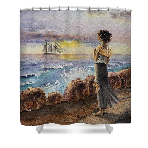 Girl And The Ocean Sailing Ship Shower Curtain by Irina Sztukowski