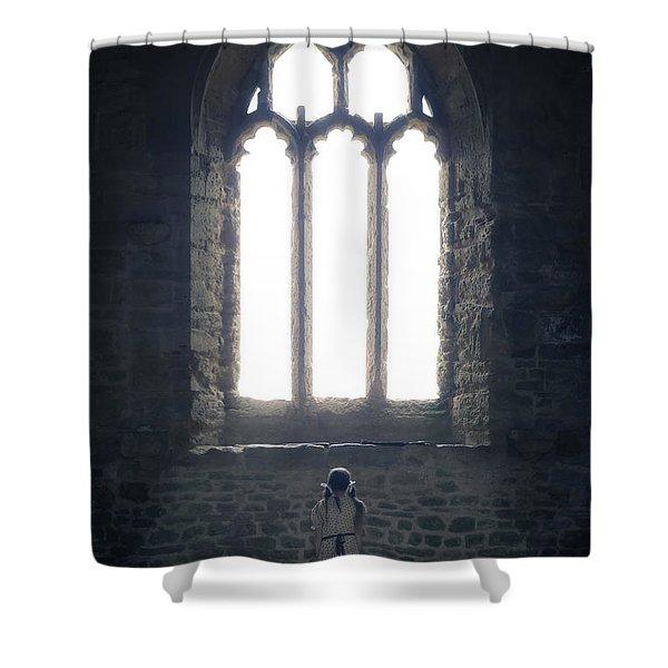 girl in chapel Shower Curtain by Joana Kruse
