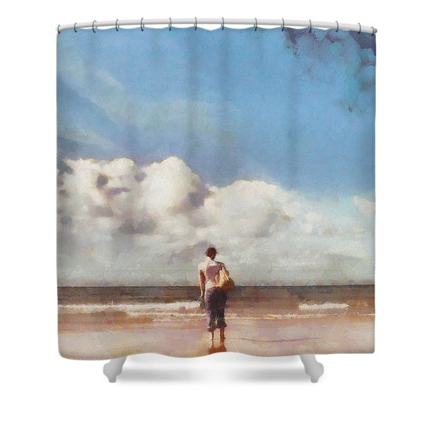 Girl on beach Shower Curtain by Pixel Chimp