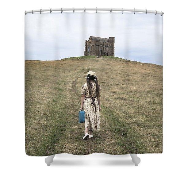 girl walks to a chapel Shower Curtain by Joana Kruse