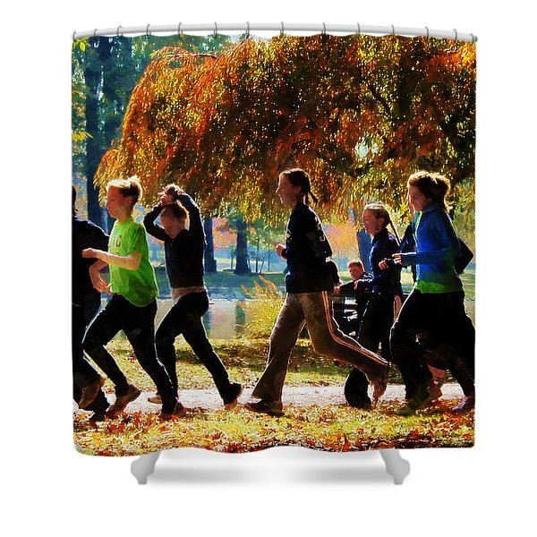 Girls Jogging On An Autumn Day Shower Curtain by Susan Savad