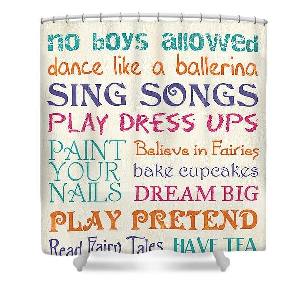 Girls Rules Shower Curtain by Debbie DeWitt