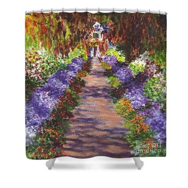 Giverny Gardens Pathway After Monet Shower Curtain by Carol Wisniewski