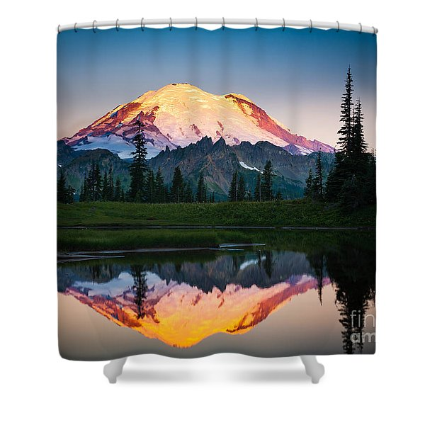 Glowing Peak Shower Curtain by Inge Johnsson
