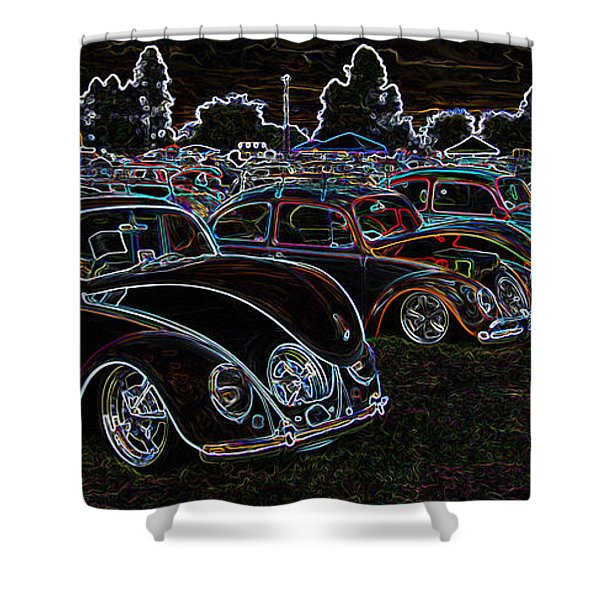Glowing Vw Beetles Shower Curtain by Steve McKinzie