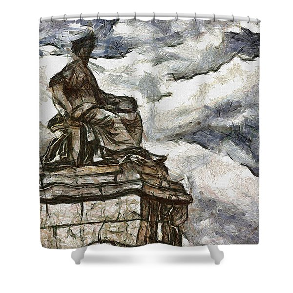 Goddess Shower Curtain by Ayse Deniz