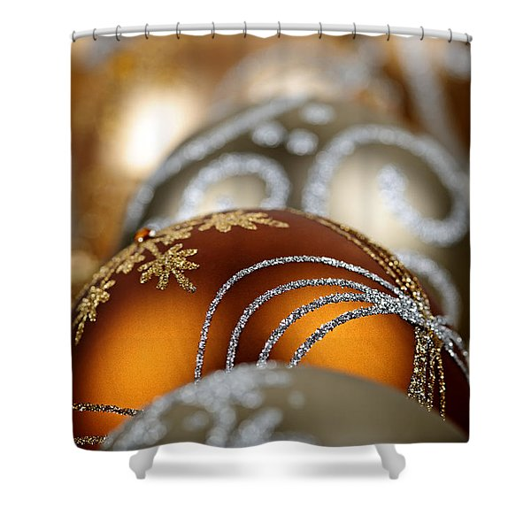 Gold Christmas ornaments Shower Curtain by Elena Elisseeva