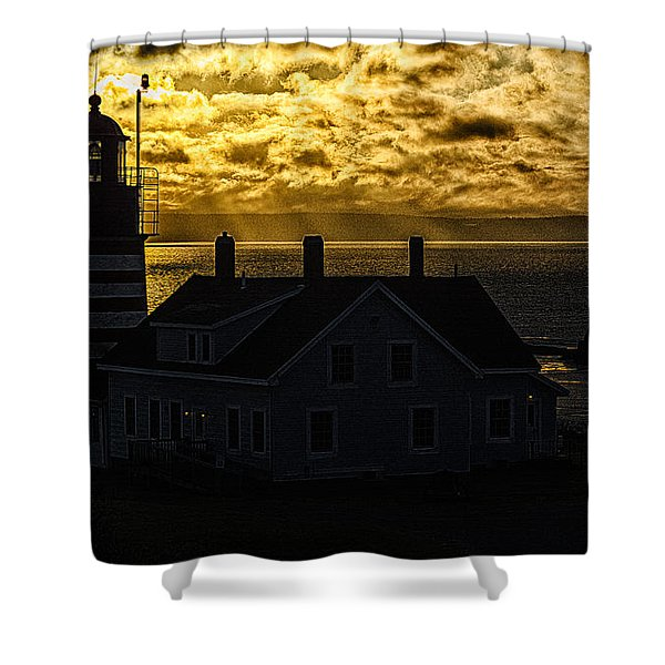 Golden Backlit West Quoddy Head Lighthouse Shower Curtain by Marty Saccone