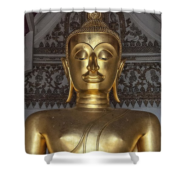 Golden Buddha Temple Statue Shower Curtain by Antony McAulay