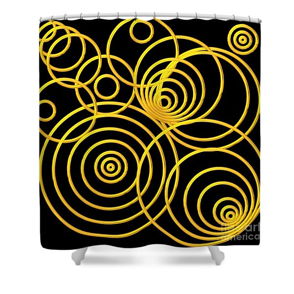 Golden Circles Optical Illusion Shower Curtain by Rose Santuci-Sofranko