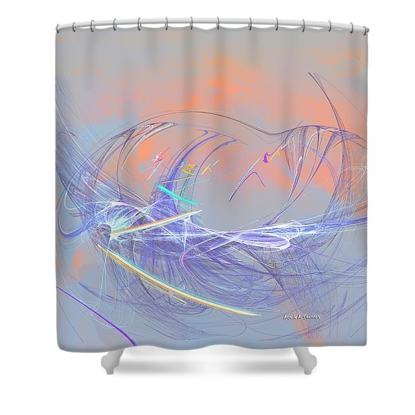 Golden Day Skiers Shower Curtain by Angela A Stanton