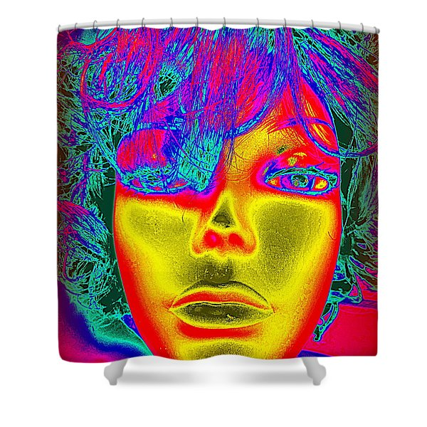 Golden Faced Girl Shower Curtain by Ed Weidman