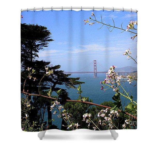 Golden Gate Bridge and Wildflowers Shower Curtain by Carol Groenen
