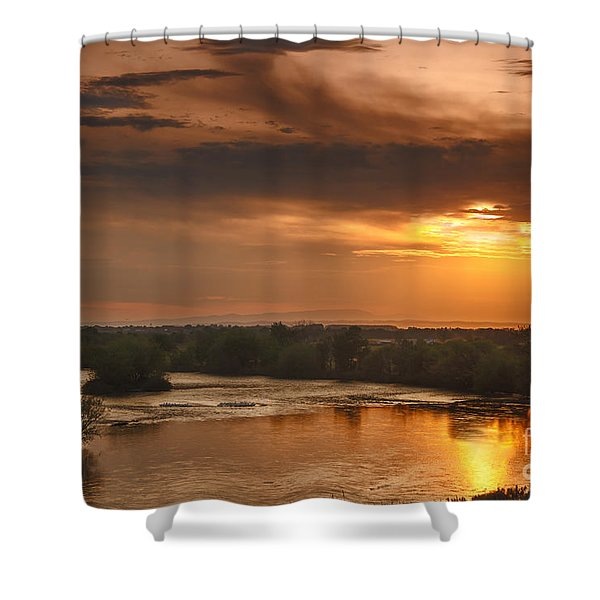 Golden Payette River Shower Curtain by Robert Bales