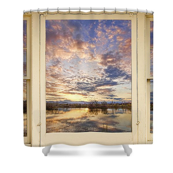 Golden Ponds Scenic Sunset Reflections 4 Yellow Window View Shower Curtain by James BO  Insogna