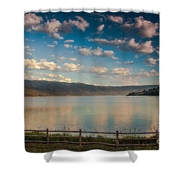 Golden Reflection On Lake Cascade Shower Curtain by Robert Bales