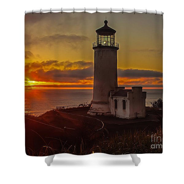 Golden Sunset At North Head Lighthouse Shower Curtain by Robert Bales