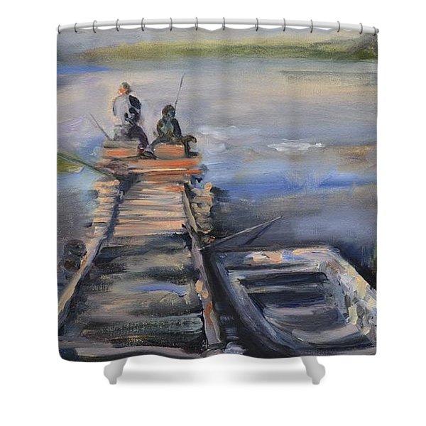 Gone Fishin' Shower Curtain by Donna Tuten