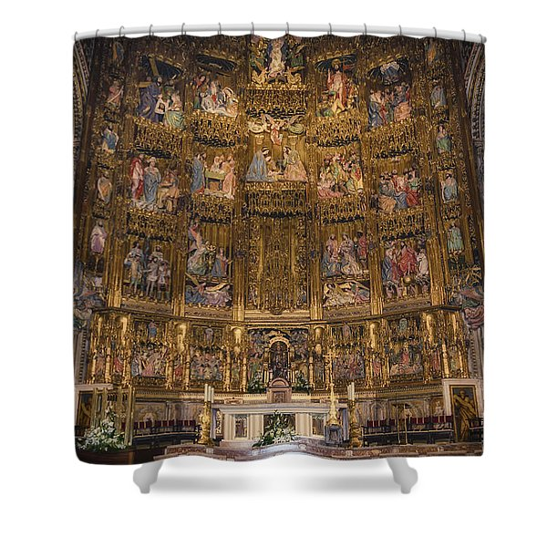 Gothic Altar Screen Shower Curtain by Joan Carroll