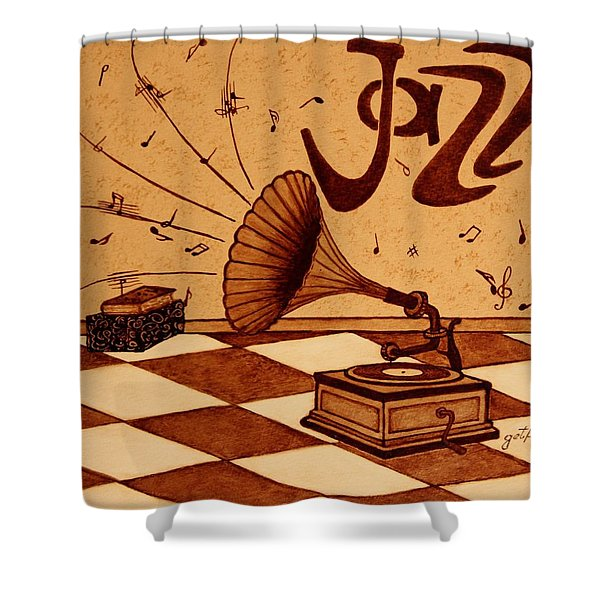 Gramophone Playing Jazz Music Painting With Coffee Shower Curtain by Georgeta  Blanaru