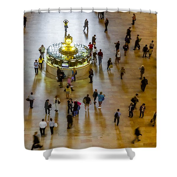 Grand Central Terminal Clock Birds Eye View  Shower Curtain by Susan Candelario