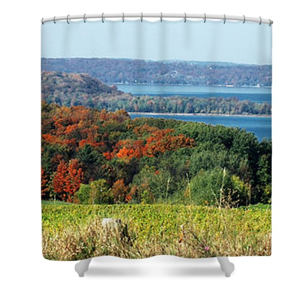 Grand Traverse Winery Lookout Shower Curtain by Optical Playground By MP Ray