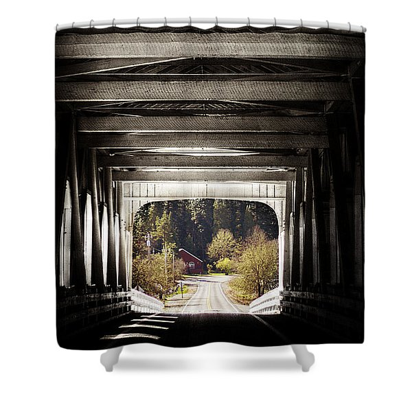Grave Creek Covered Bridge Shower Curtain by Melanie Lankford Photography