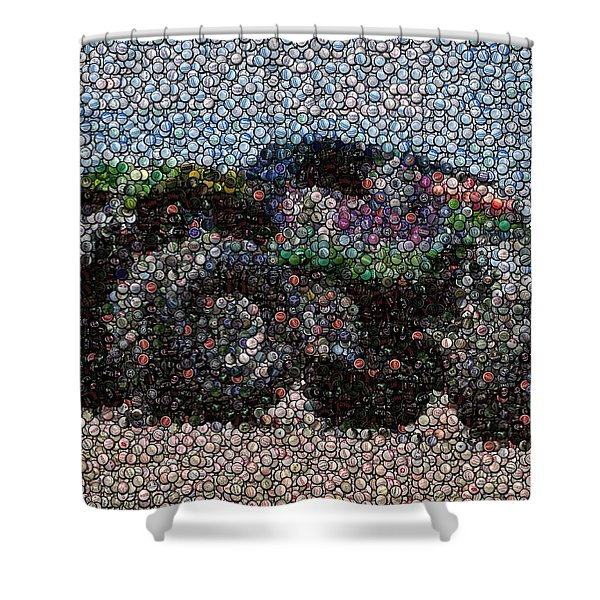 Grave Digger Bottle Cap Mosaic Shower Curtain by Paul Van Scott