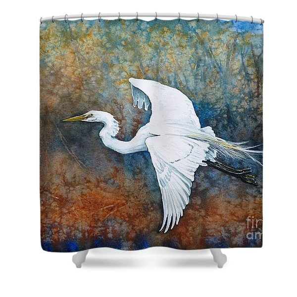 Great Egret  Shower Curtain by Zaira Dzhaubaeva