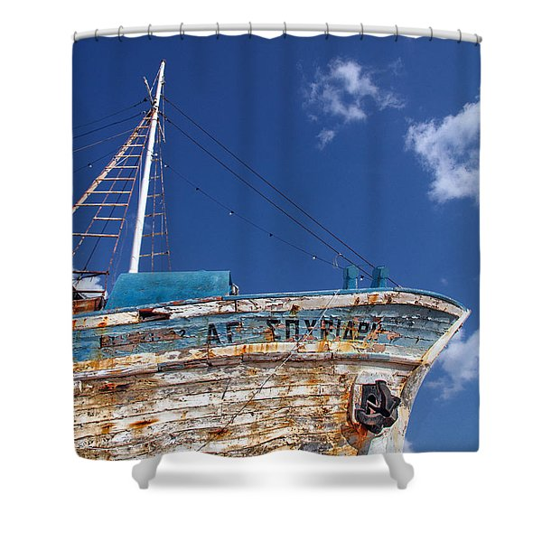 greek fishing boat Shower Curtain by Stylianos Kleanthous