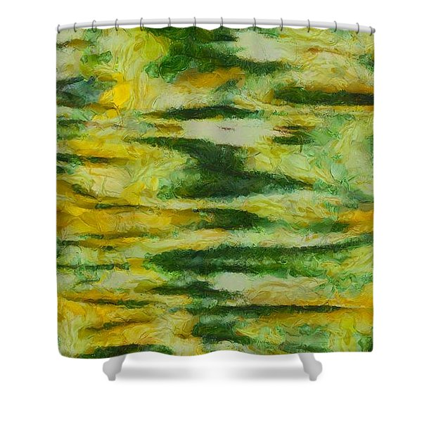 Green And Yellow Abstract Shower Curtain by Dan Sproul