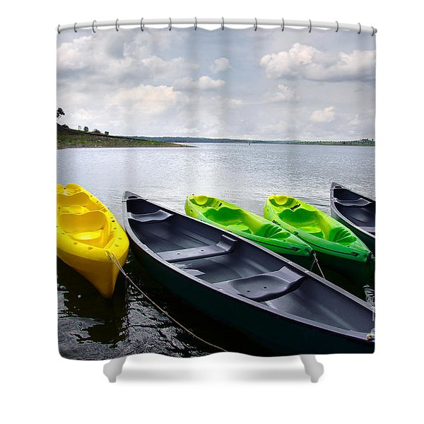 Green and yellow kayaks Shower Curtain by Carlos Caetano