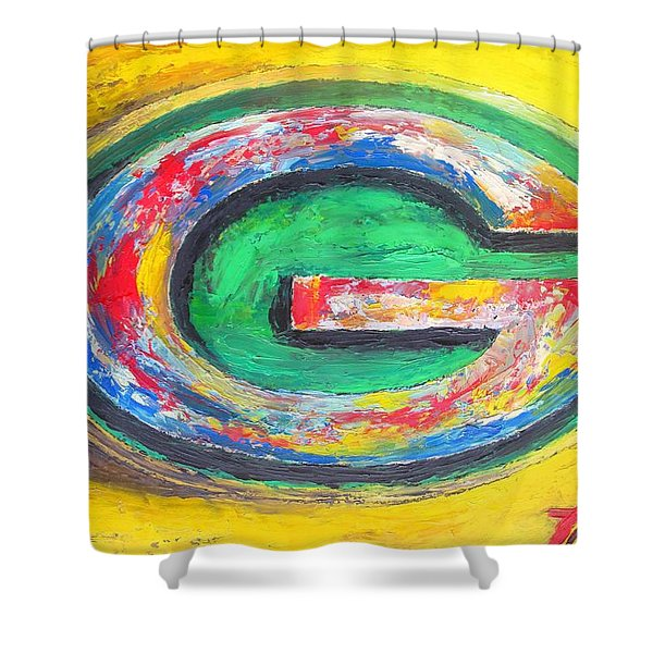 Green Bay Packers Football Shower Curtain by Dan Haraga