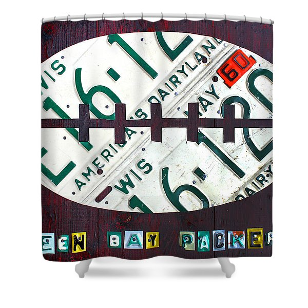 Green Bay Packers Football License Plate Art Shower Curtain by Design Turnpike