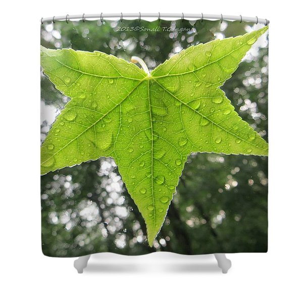 Green droplets Shower Curtain by Sonali Gangane
