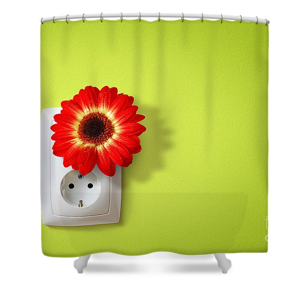 Green Electricity Shower Curtain by Carlos Caetano