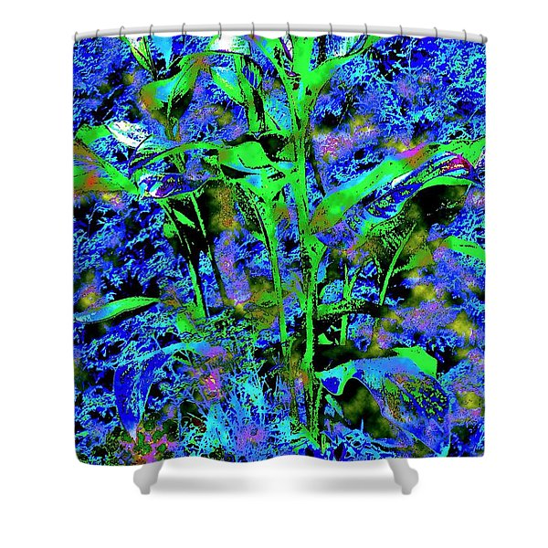Green Leafy Plant Bathed In Blue Shower Curtain by Annie Zeno