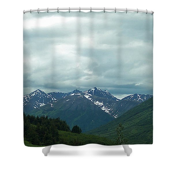 Green Pastures And Mountain Views Shower Curtain by Aimee L Maher Photography and Art