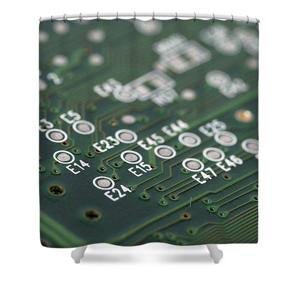 Green printed circuit board closeup Shower Curtain by Matthias Hauser