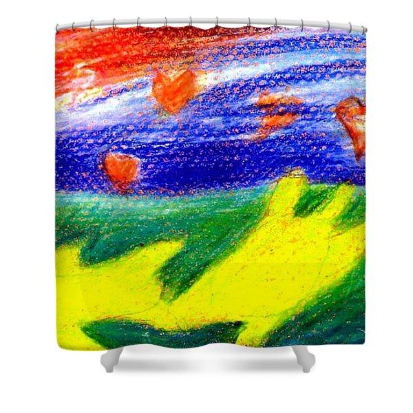 Green Sean Turtles Shower Curtain by Genevieve Esson