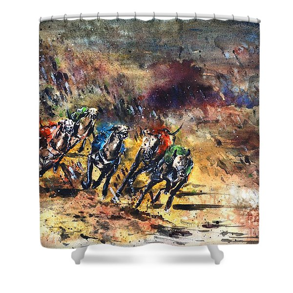 Greyhound Racing Shower Curtain by Zaira Dzhaubaeva